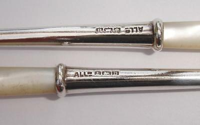 Pair of 1926 Sterling Silver Olive / Pickle Forks - Mother of Pearl Handles