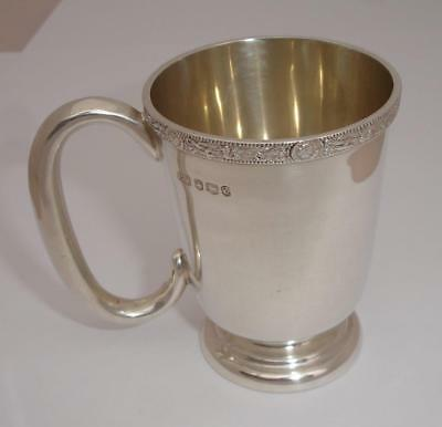 Superb 1958 Solid Sterling Silver Christening Cup - Celtic band decorative rim