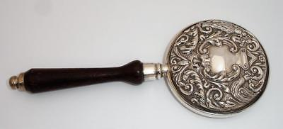 Fancy 1990 Sterling Silver Hand Mirror with Embossed decoration & Wood Handle