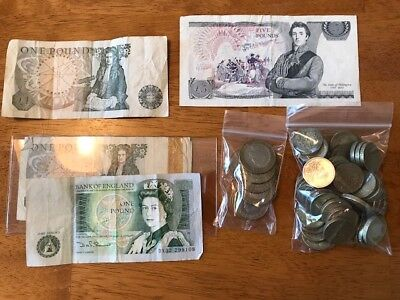 Gold and Coin: English Pounds, 2 Pounds and Paper Pounds