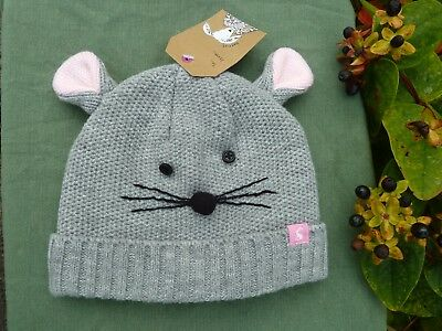 JOULES Baby Girls Knitted & Lined Mouse Hat - Size Large BNWT
