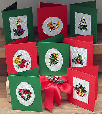 Christmas Set Of 8 With Beads - Traditional - Cross Stitch Cards Kit