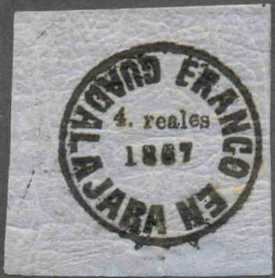 """MEXICO.1867.GDA PROV.""""4.reales""""blue.Quadrille paper.Sc#21.NF#18z.MNG.#ra012"""