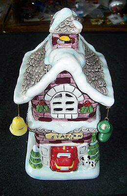 Fire Station candle holder display ceramic Christmas Winter decor