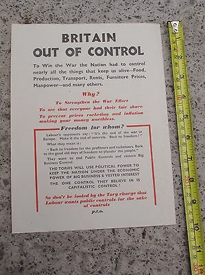 Wartime Labour Election Flyer 1945   'Britain Out Of Control'
