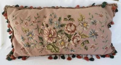 "Large Vintage 33"" Wool Needlepoint Cushion Pillow Pink Rose Blue Floral Shabby"