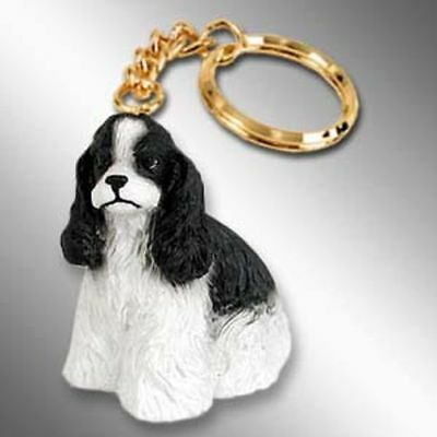 Cocker Spaniel, Black and White Dog Tiny One Resin Keychain Key Chain Ring