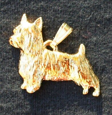 SILKY TERRIER Dog 24K Gold Plated Pewter Pendant Jewelry USA Made