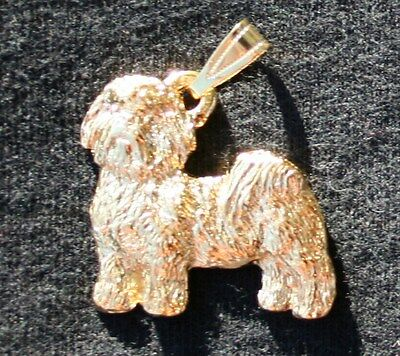 SHIH TZU Puppy Cut Dog 24K Gold Plated Pewter Pendant Jewelry USA Made