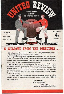 1952/53 14 Manchester United Home Programmes All In Very Good Condition