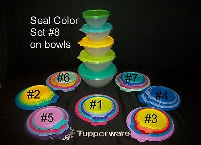 Tupperware 5 vtg SHEER Wonderlier serving freezer Bowls ~Seal Set Color CHOICE