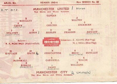 1945/46 MANCHESTER UNITED v MANCHESTER CITY FIRST DIVISION VERY GOOD
