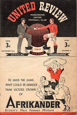 46/7 NO.11 MANCHESTER UNITED v HUDDERSFIELD TOWN FIRST DIV. VERY GOOD CONDITION