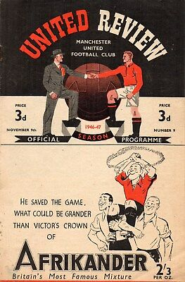 46/7 NO.9 MANCHESTER UNITED v DERBY COUNTY FIRST DIV. VERY GOOD CONDITION