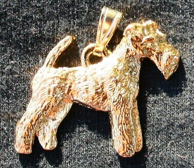 WIRE HAIRED FOX TERRIER Dog 24K Gold Plated Pewter Pendant Jewelry