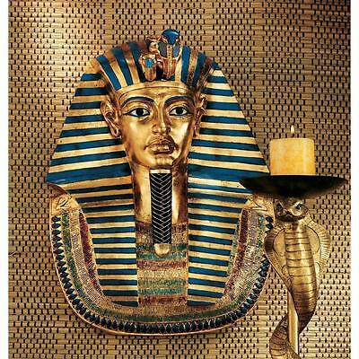 Pharaoh King Tut Egyptian Style Ancient Golden Mask Wall Sculpture NEW