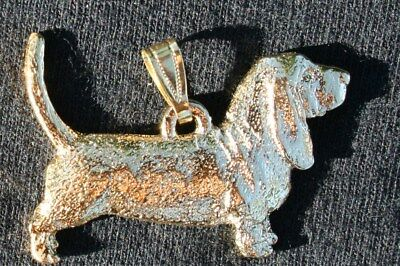 Basset Hound Dog 24K Gold Plated Pewter Pendant Jewelry USA Made