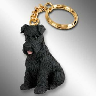 Schnauzer Black Uncropped Ears Dog Tiny One Resin Keychain Key Chain Ring