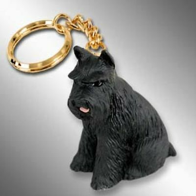 Schnauzer Black Cropped Ears Dog Tiny One Resin Keychain Key Chain Ring