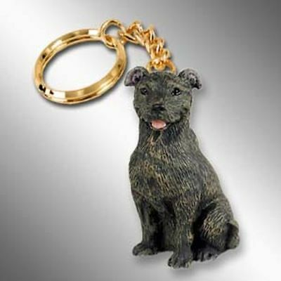 Staffordshire Bull Terrier Dog Tiny One Resin Keychain Key Chain Ring