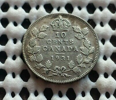1931 Dime ❀ King George V ❀ Canada Silver 10 Cent Coin