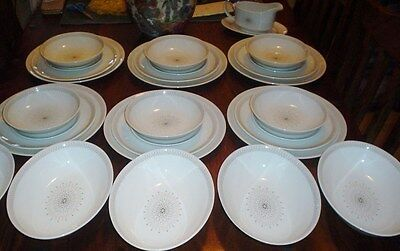 Royal Doulton MORNING STAR TC1026 Dinner Set Service 6 Place Setting Cream Brown
