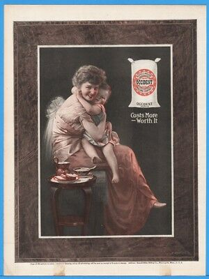 1915 Russell Miller Occident Flour Smiling Mother With Child GORGEOUS Art Ad