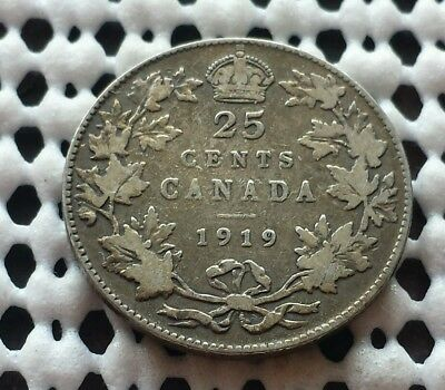 1919 ❀ King George V ❀ 25 Cent Canada Silver Quarter Dollar Coin