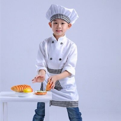 Newest Kids Chef Costume Long Sleeve Coat Apron Cap Boys Girls Cosplay Outfit
