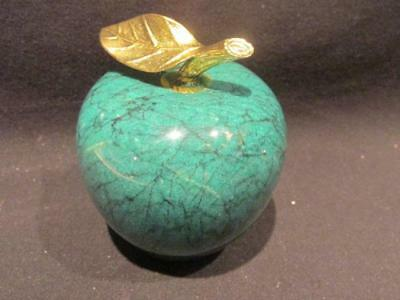 Dark Green Marble Paperweight With Brass Leaf