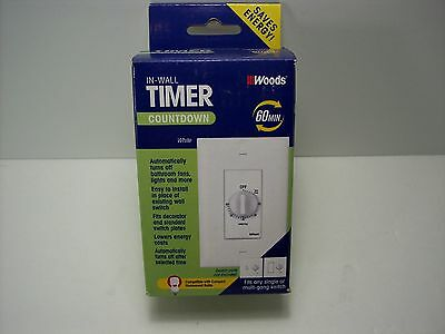 Woods 59717 Automatic 60 Minute Switch Timer White Wall Control Free Shipping