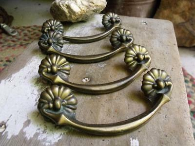 Set of 4 Lovely Vintage Brass Drawer Pulls 10226