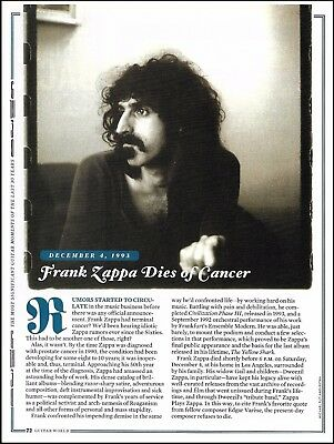 Frank Zappa Dies of Cancer 1993 death tribute 8 x 11 article