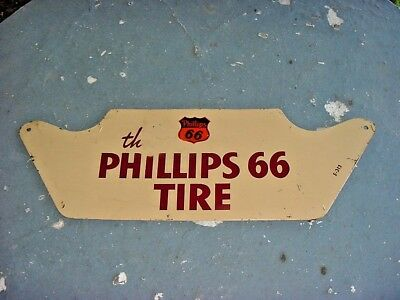 ORIGINAL * 1940s Vintage PHILLIPS 66 TIRE Old Gas Station Tire Display Tin Sign