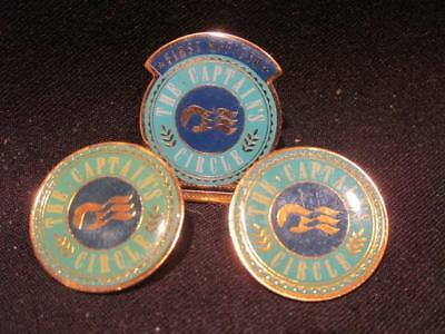Princess Cruise Lines Captain's Circle Pair of Round Pins & First Officer Pin