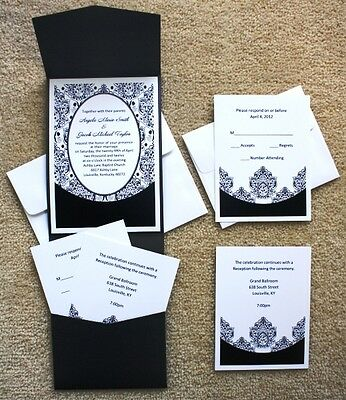 100 Personalized Custom Damask Pocket Bridal Wedding Invitations Set
