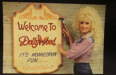 Welcome to Dollywood It's Homespun Fun 1980s Color Postcard Dolly Parton DW108