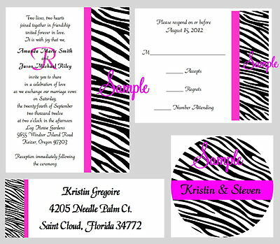 100 Personalized Monogram Zebra Stripes Wedding Invitations Set Any Color Stripe