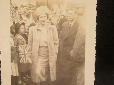 King George VI & Queen Elizabeth & Crowd with Flags 1939 Canada Visit Snapshot