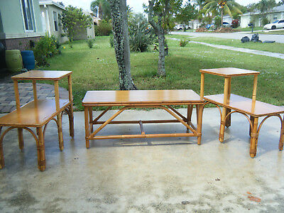 Vintage Mid Century Pair Of Bamboo 2 Tier End Tables & Coffee Table