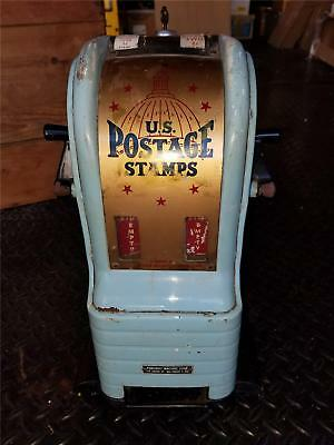 Vintage Blue Northwestern Coin Operated Stamps Vending Machine Working W Key