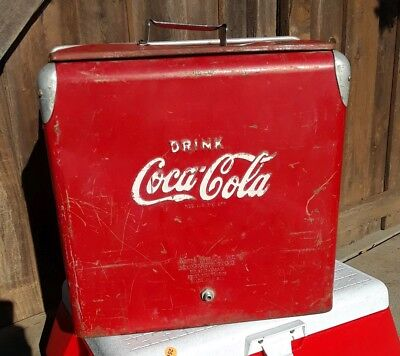 Vintage Coca Cola Metal Cooler With Tray Bottle Opener