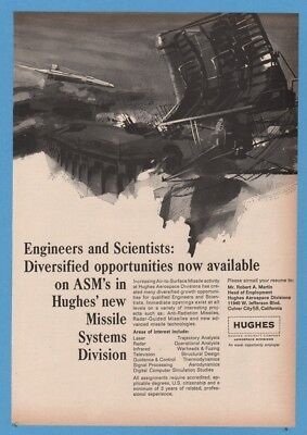 1966 Hughes Satellite Air to Surface Missile Rocket GREAT Art Jobs Want Ad