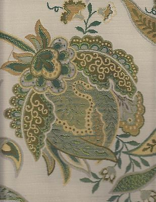12.25 yds Silverstone Floral Upholstery Fabric Blue Green Gold on Cream OE3