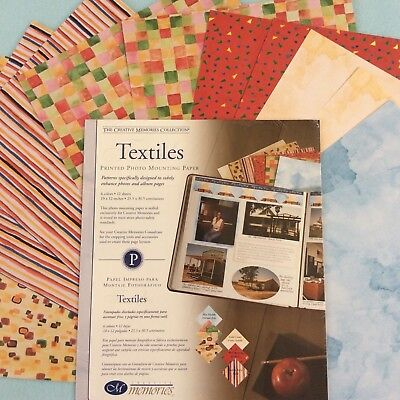 """Creative Memories 10"""" X 12"""" TEXTILES PRINTED PHOTO MOUNTING PAPER - 12 SHEETS"""