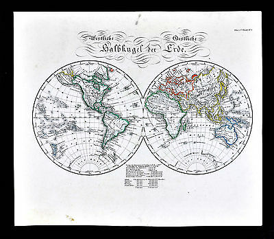 c.1847 Glaser Atlas Map World Hemispheres North South America Europe Asia Africa