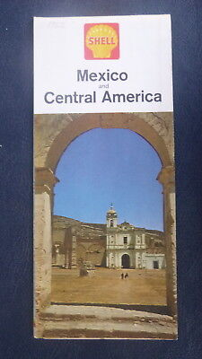 1962 Mexico & Central America  road map Shell oil  gas