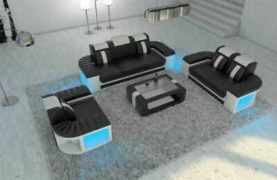 Sofa Garnitur Couch Garnitur Design BELLAGIO 3-2-1 LED Beleuchtung Ledersofa