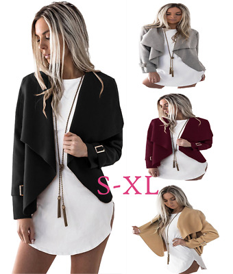 Women Autumn Long Sleeve Jacket Coat Wide Lapel Woolen Short Irregular Cardigan