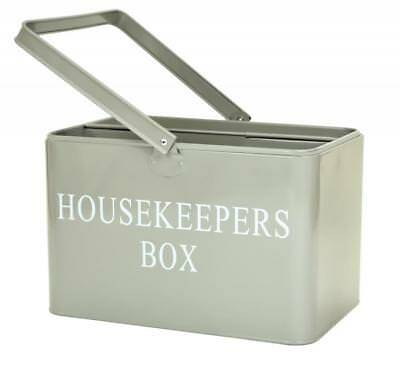 Retro Vintage Cool Grey Enamel Housekeeper Cleaning Tool Carry Utility Caddy Box